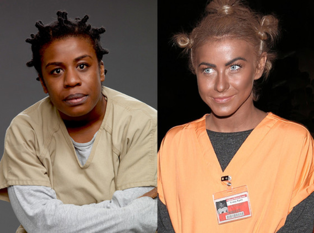 """Julianne Hough dressed up as Crazy Eyes from 'Orange is the New Black' using """"BlackFace"""" as she attended the Casamigos Tequila Halloween party in Hollywood on Oct. 25."""
