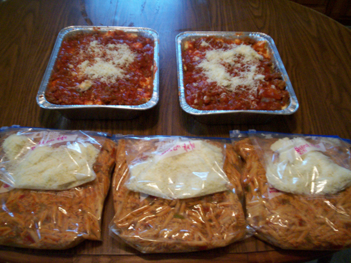 Meals can be stored in a variety of ways including foil trays and freezer or ziplock bags.