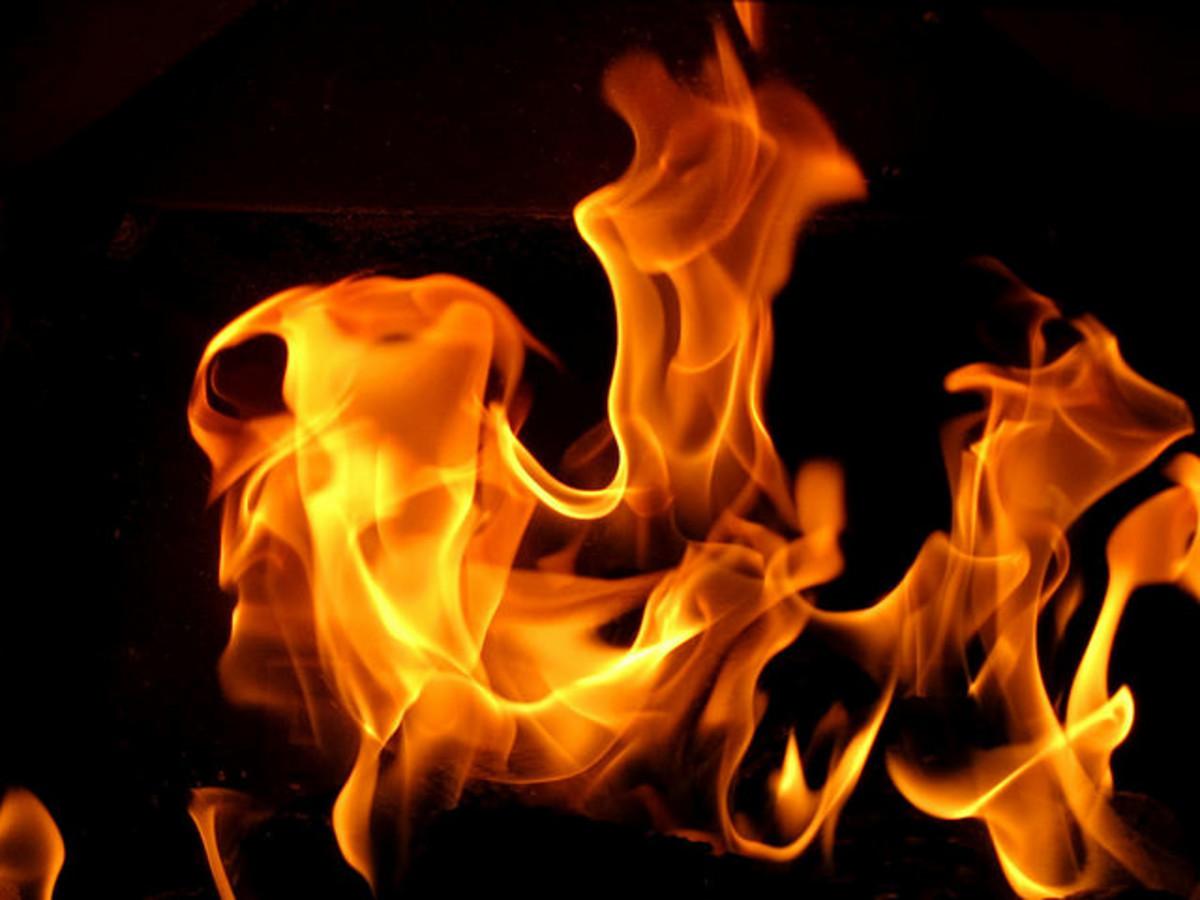 A hot fire burns