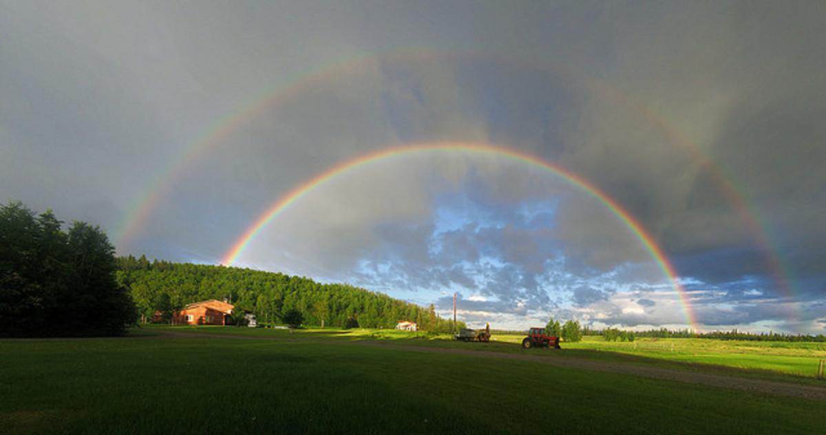 Double rainbow effect over luscious terrain