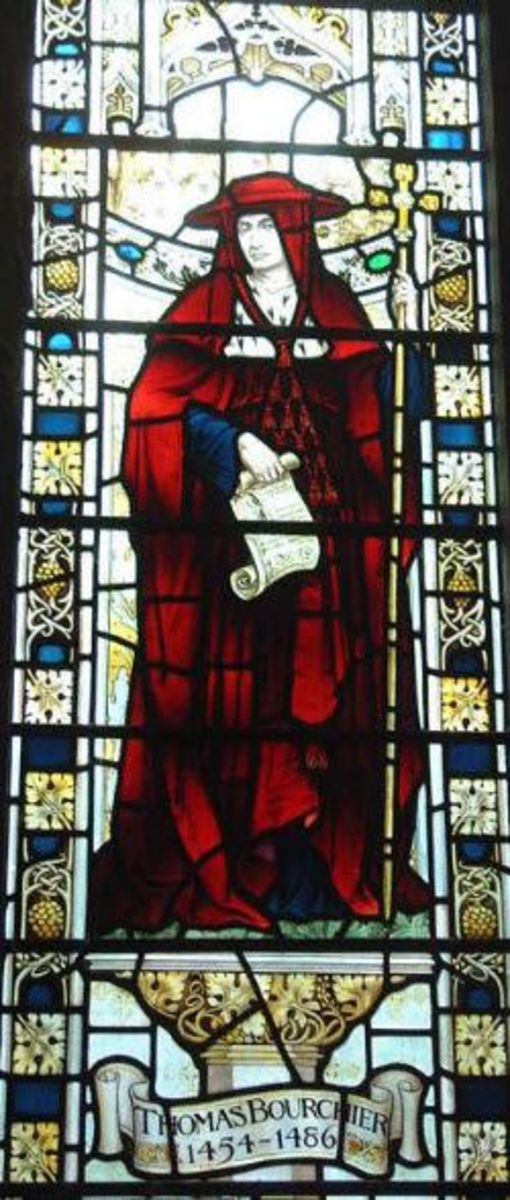 Stained glass window depicting Cardinal Thomas Bourchier