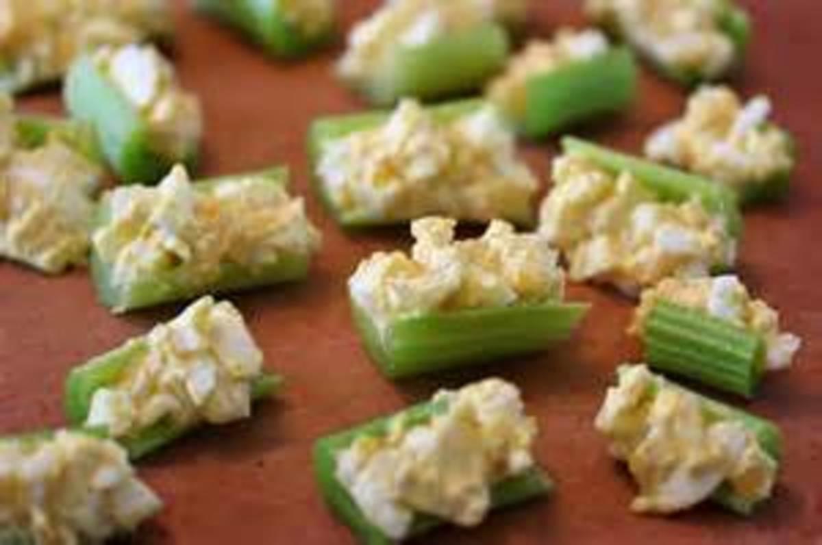 Egg salad in celery bits
