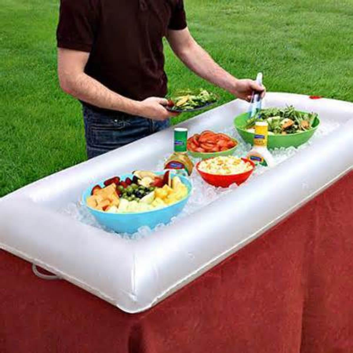 Blow up salad bars for ice can be purchased online or in party stores