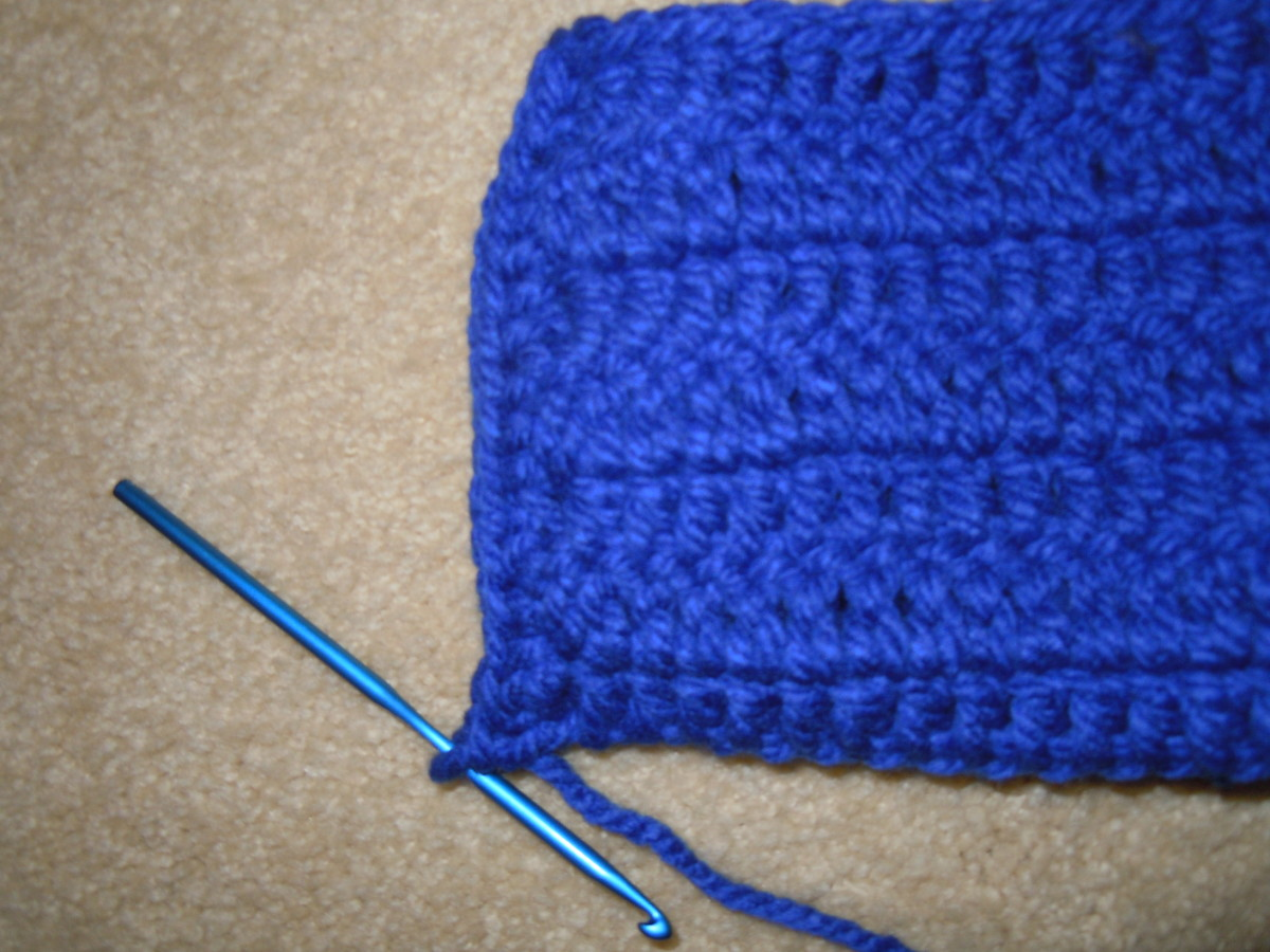 Sew or crochet a rectangle to make a slipper