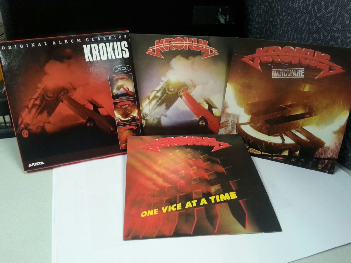 "This box set includes CDs of the ""Metal Rendez-vous"" (1980), ""Hardware"" (1981) and ""One Vice at a Time"" (1982) albums, packaged in cool cardboard LP-replica sleeves."