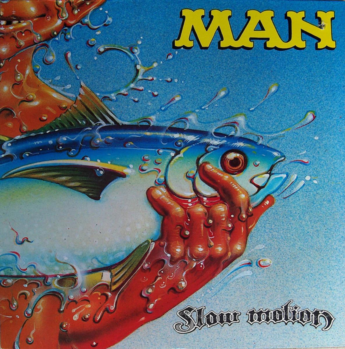 """Man """"Slow Motion"""" United Artists Records UA-LA345-G 12"""" LP Vinyl, US Pressing (1974) Album Cover Art by Rick Griffin"""