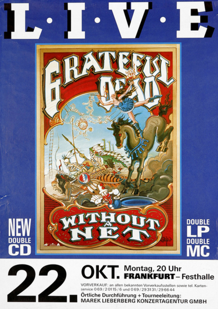 The Grateful Dead 1990 German Record Store Promo / Concert Poster w/ Rick Griffin Art
