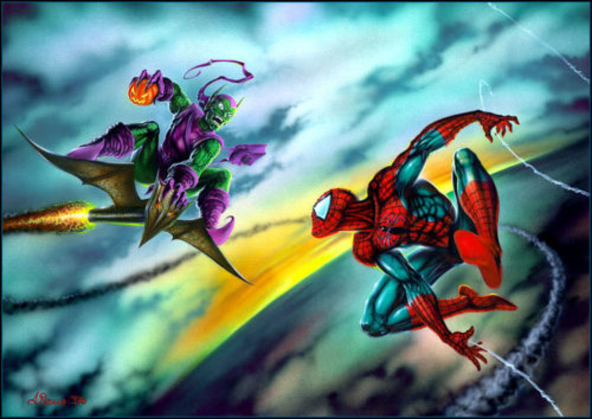 Spider-Man and The Green Goblin battle in the skies.