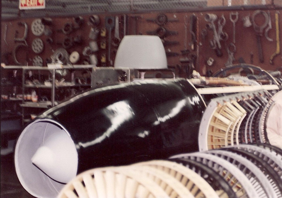 An Ar-234 engine undergoing restoration at the Paul E. Garber Facility, May 1988.