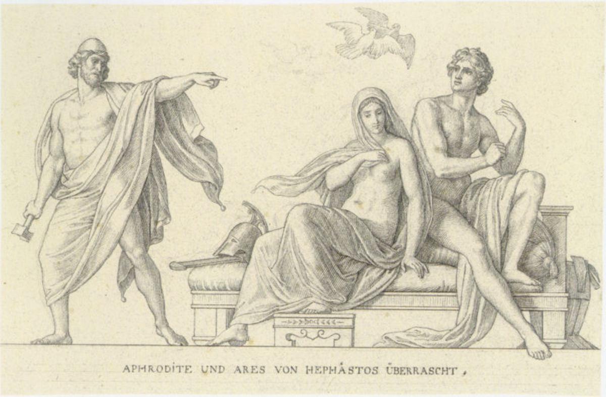Hephaestus, Aphrodite and Ares - Julius Schnorr von Carolsfeld (1794–1872) - PD-life-100