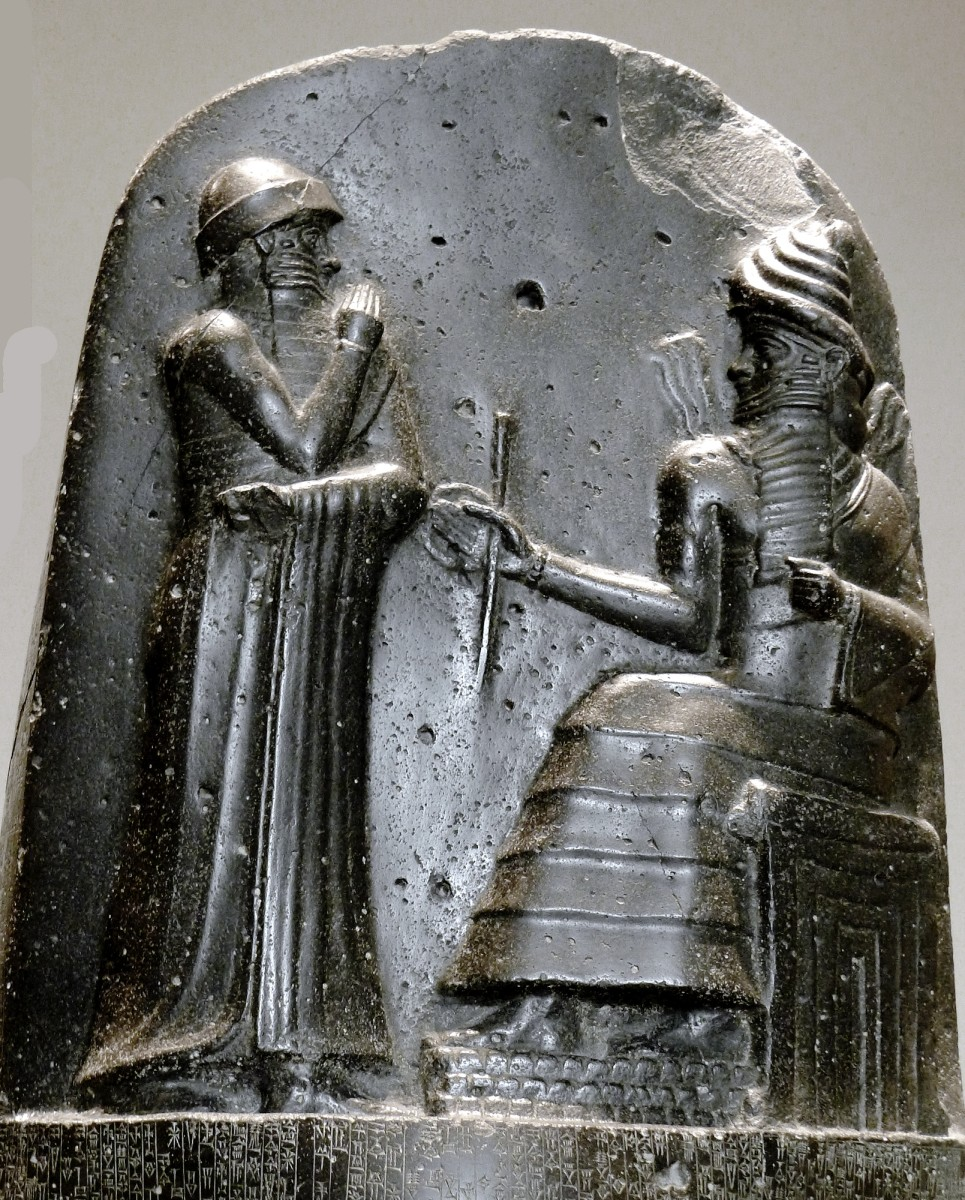 This relief on Hammurabi's Code of Law depicts Hammurabi receiving the divine right to rule from Shamash, the Mesopotamian Sun God.