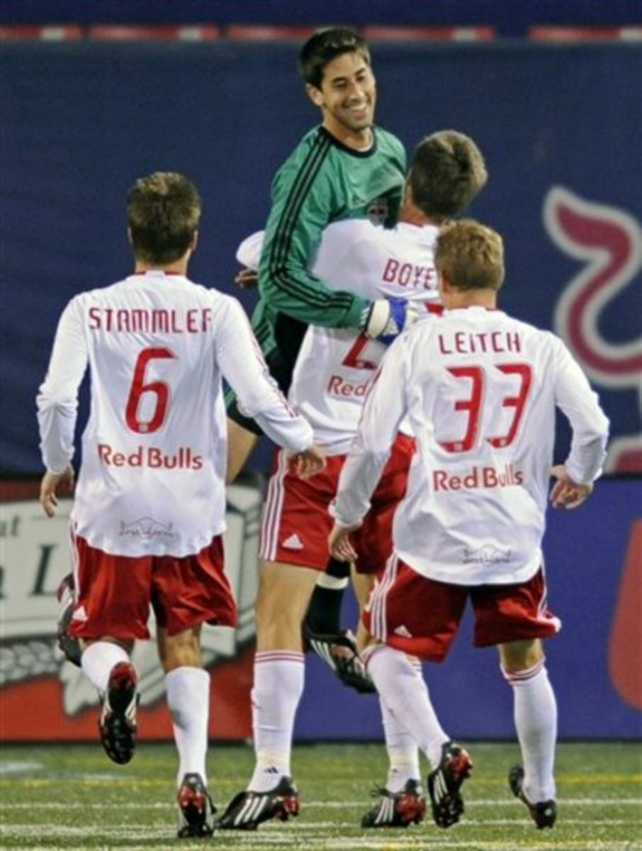 New York Red Bulls goalkeeper Danny Cepero is lifted up by teammate Andrew Boyens during an MLS match against Columbus in 2008. Cepero became the first goalkeeper to score in the MLS and did so on his debut.