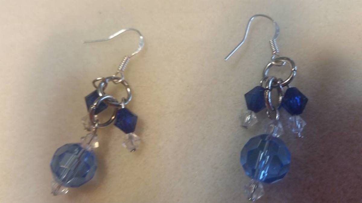 The Blues - My friend wanted me to make her a pair of earrings to go with jeans. She bought some of the beads that I put in this pair.