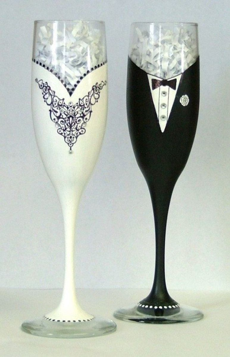 Cute groom & bride glass - idea 2