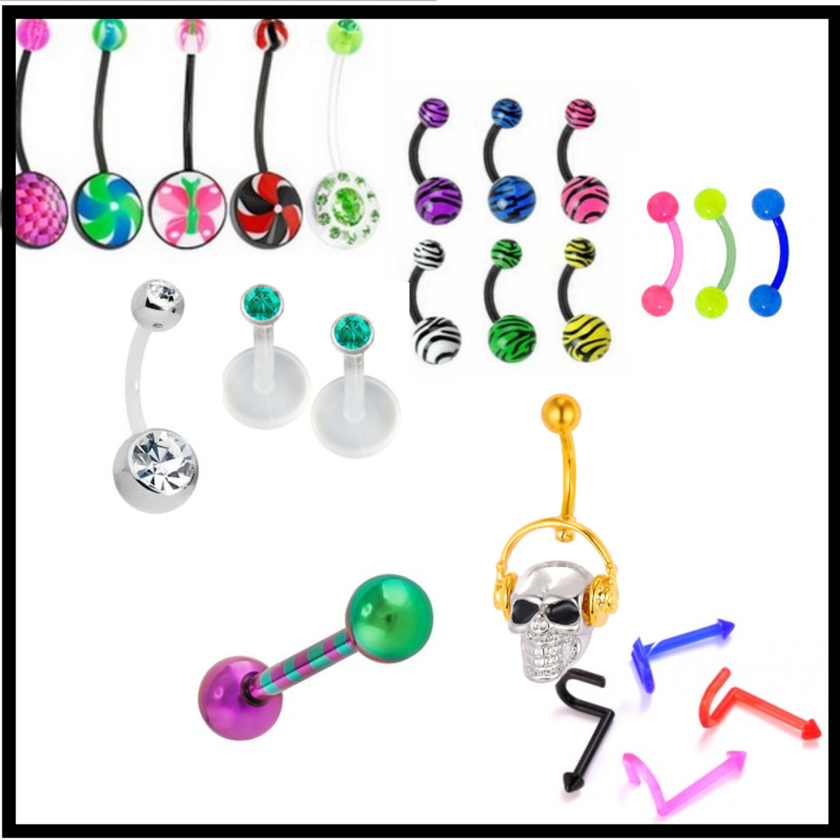 Body friendly bioplast is designed for people with allergies that use body jewelry. It comes in many different colors in all shapes and sizes.