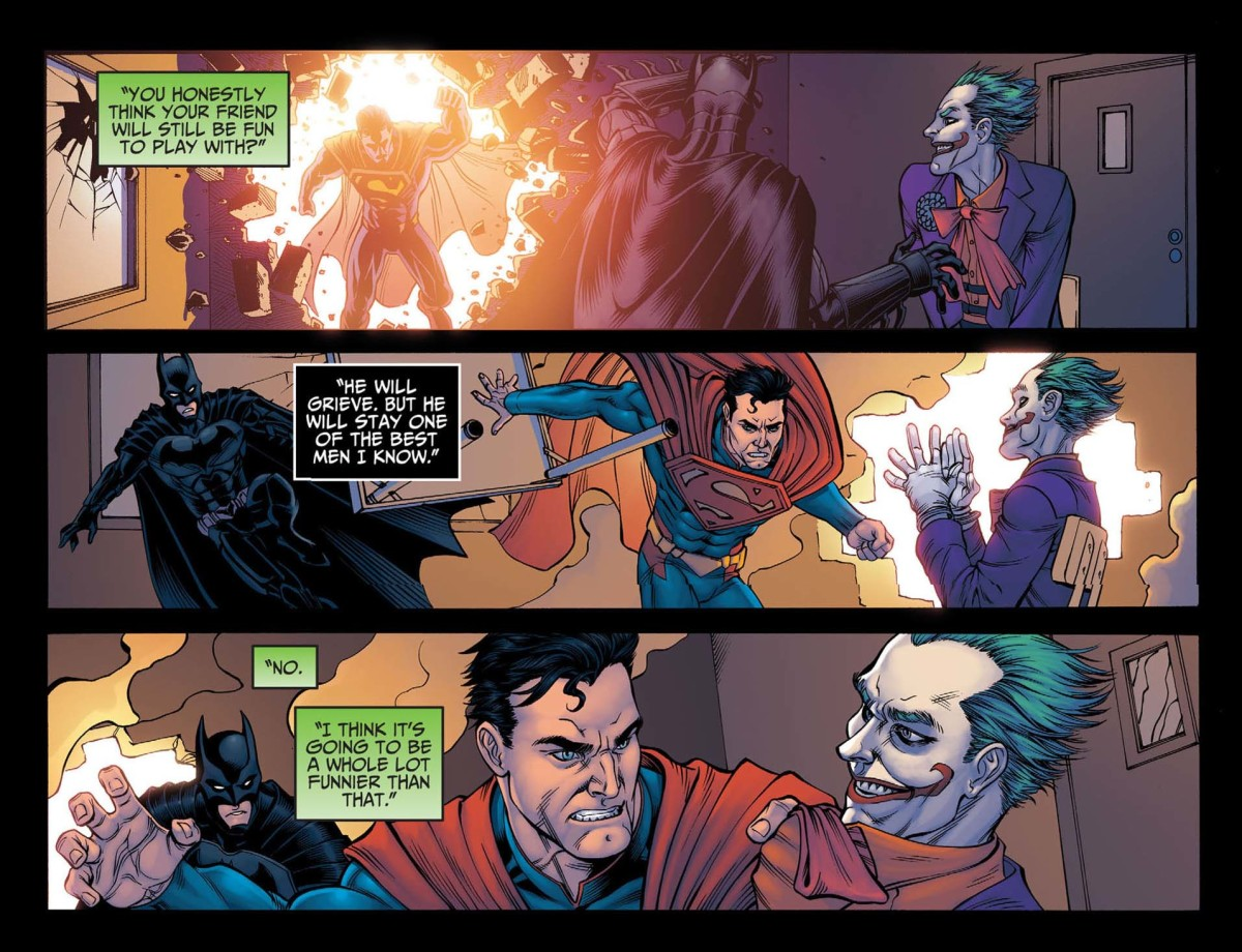 Joker made Superman kill Lois and his son.