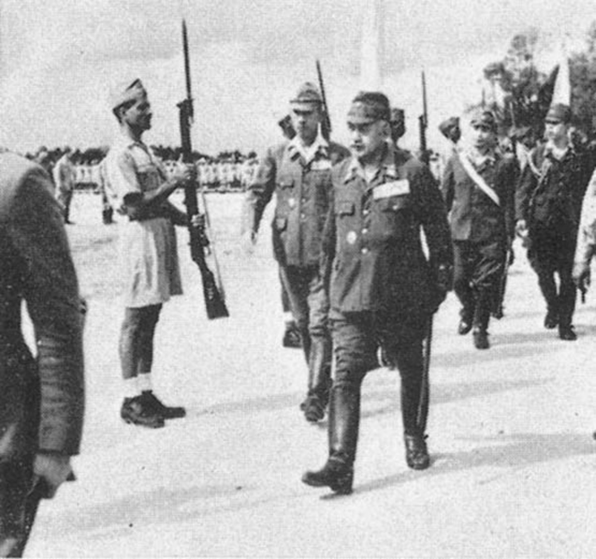 Japanese general inspecting Indian troops in Singapore in 1944