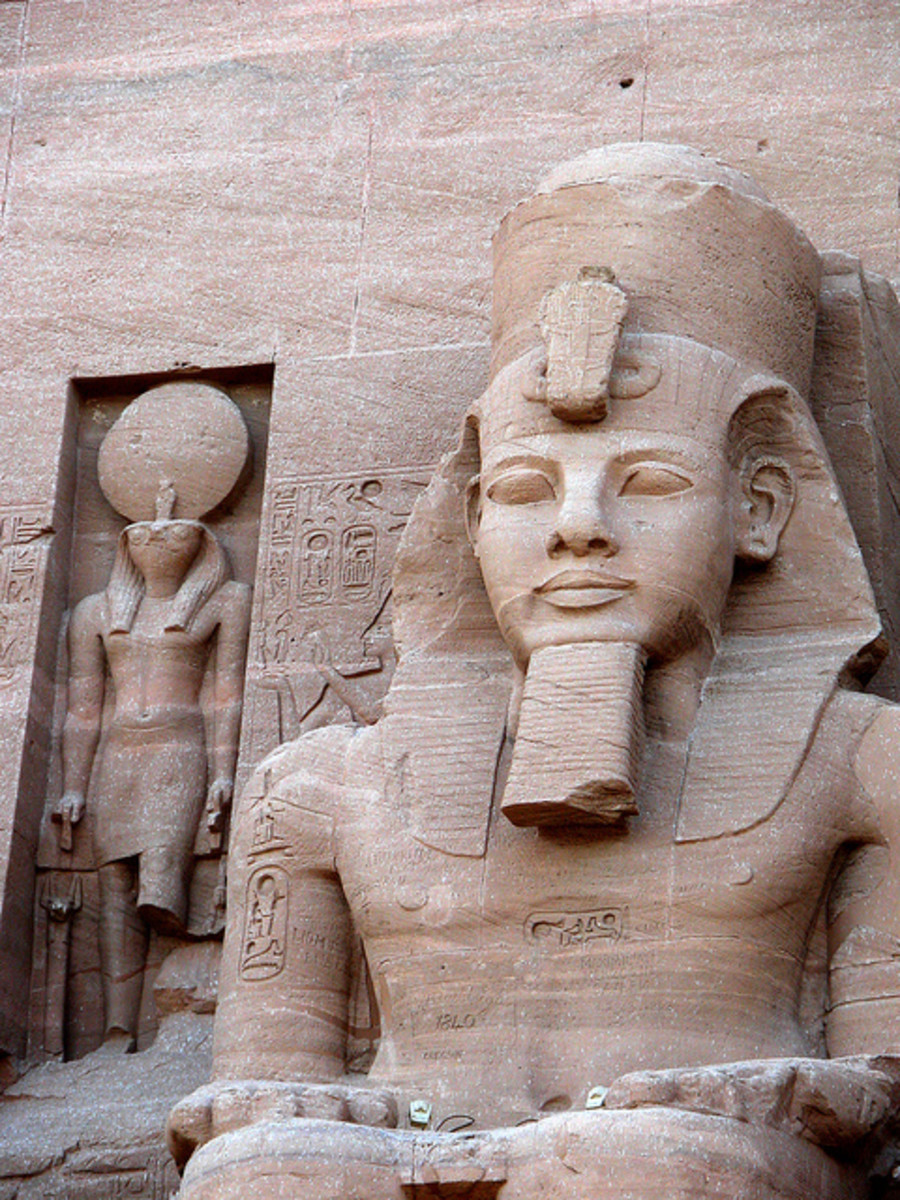 Rameses II & Re-Horakhty at the Temple of Rameses II.
