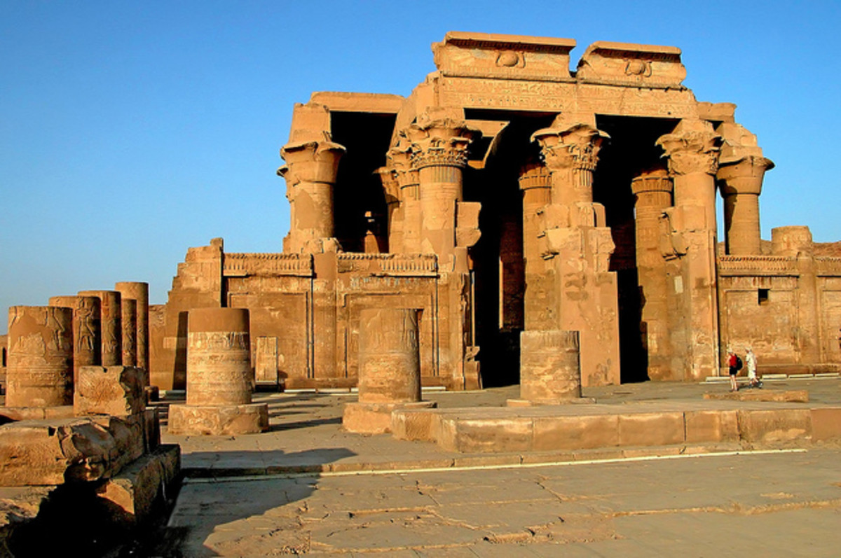 Komombo temple in Aswan, Egypt. This temple is dedicated to Sobek and Horus.