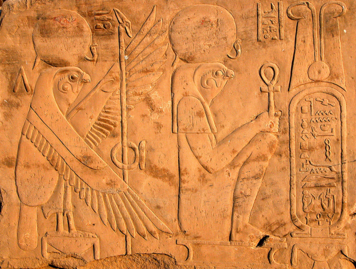 Relief representations of Horus and the Sun Disk taken at the Komombo temple, Aswan, Egypt. Horus is one of the oldest and most significant deities in ancient Egyptian religion.