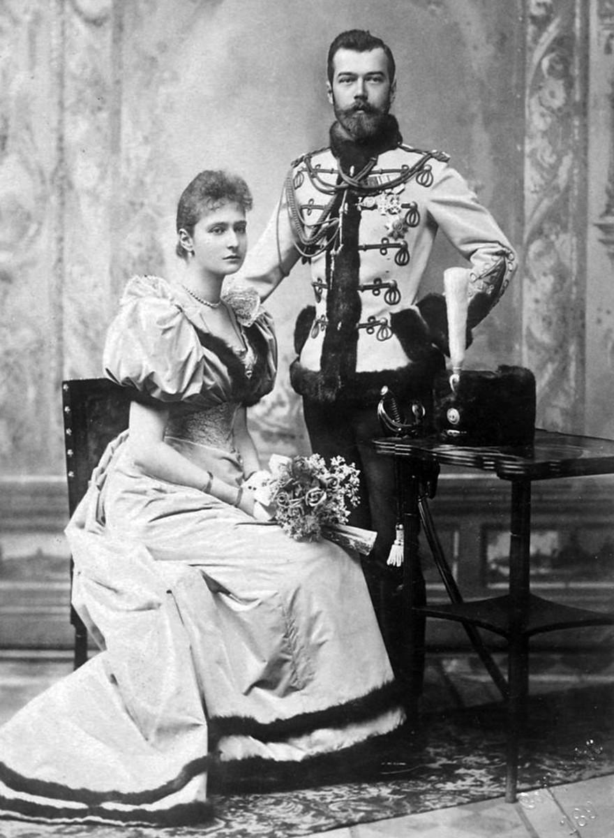 Tsar Nicholas and his wife Alexandra their engagement photo.