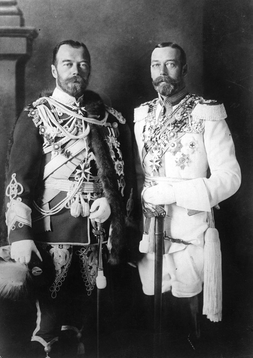 Tsar Nicholas II of Russia with his physically similar cousin, King George V of the United Kingdom (right), wearing German military uniforms in Berlin before the First World War in 1913.