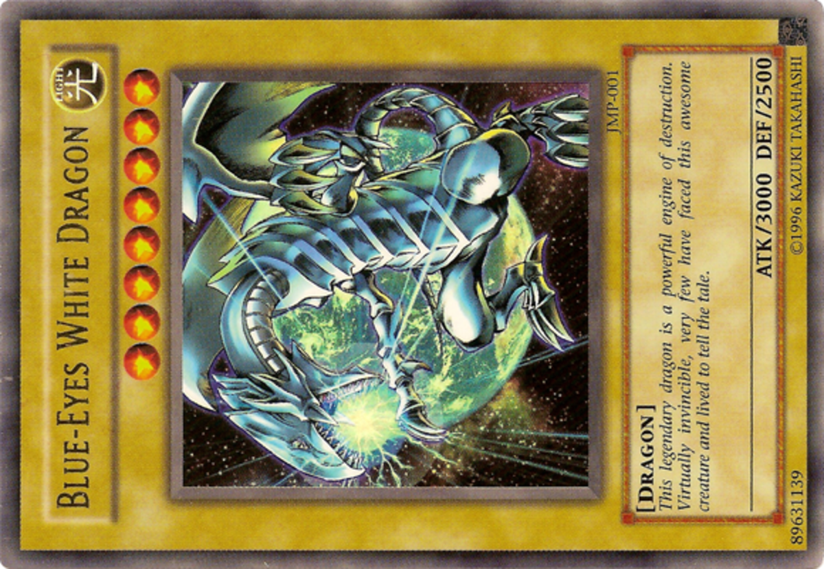 This Blue-Eyes White Dragon is turned sideways to indicate its Defense position.