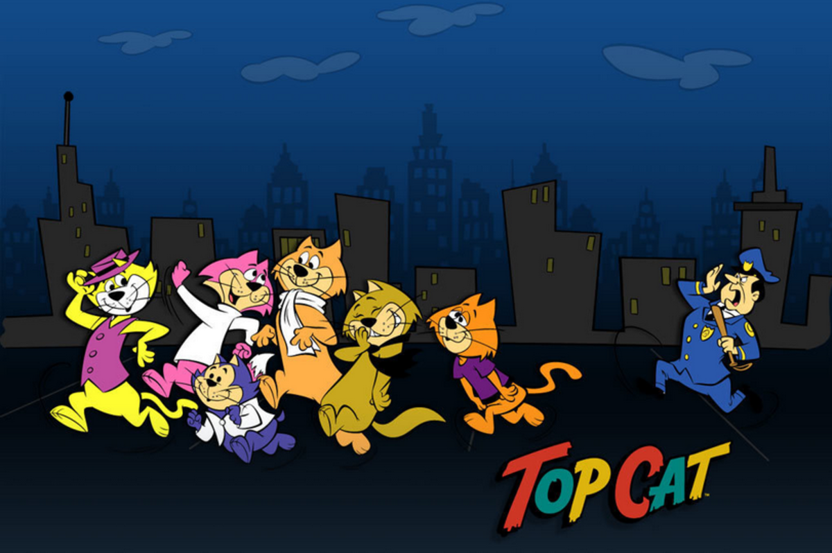 The cast of Top Cat (L to R): Top Cat, Choo-Choo,  Benny, Fancy-Fancy, Spook, Brain, and Officer Dibble