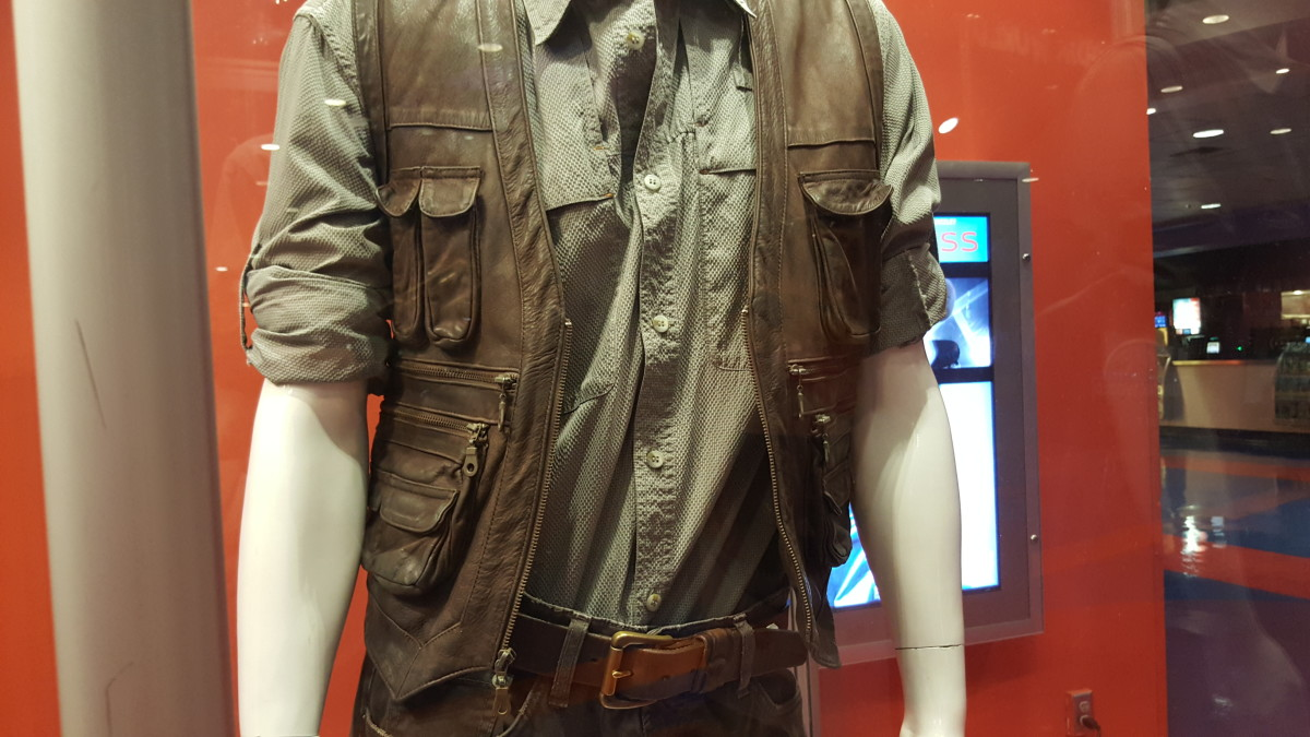 The actual shirt worn by Chris Pratt on display in Hollywood.