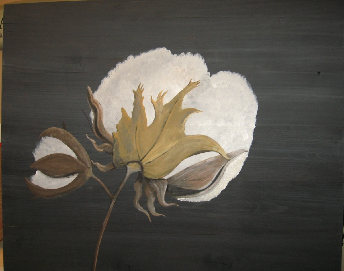 Cotton Boll Painting on Wood