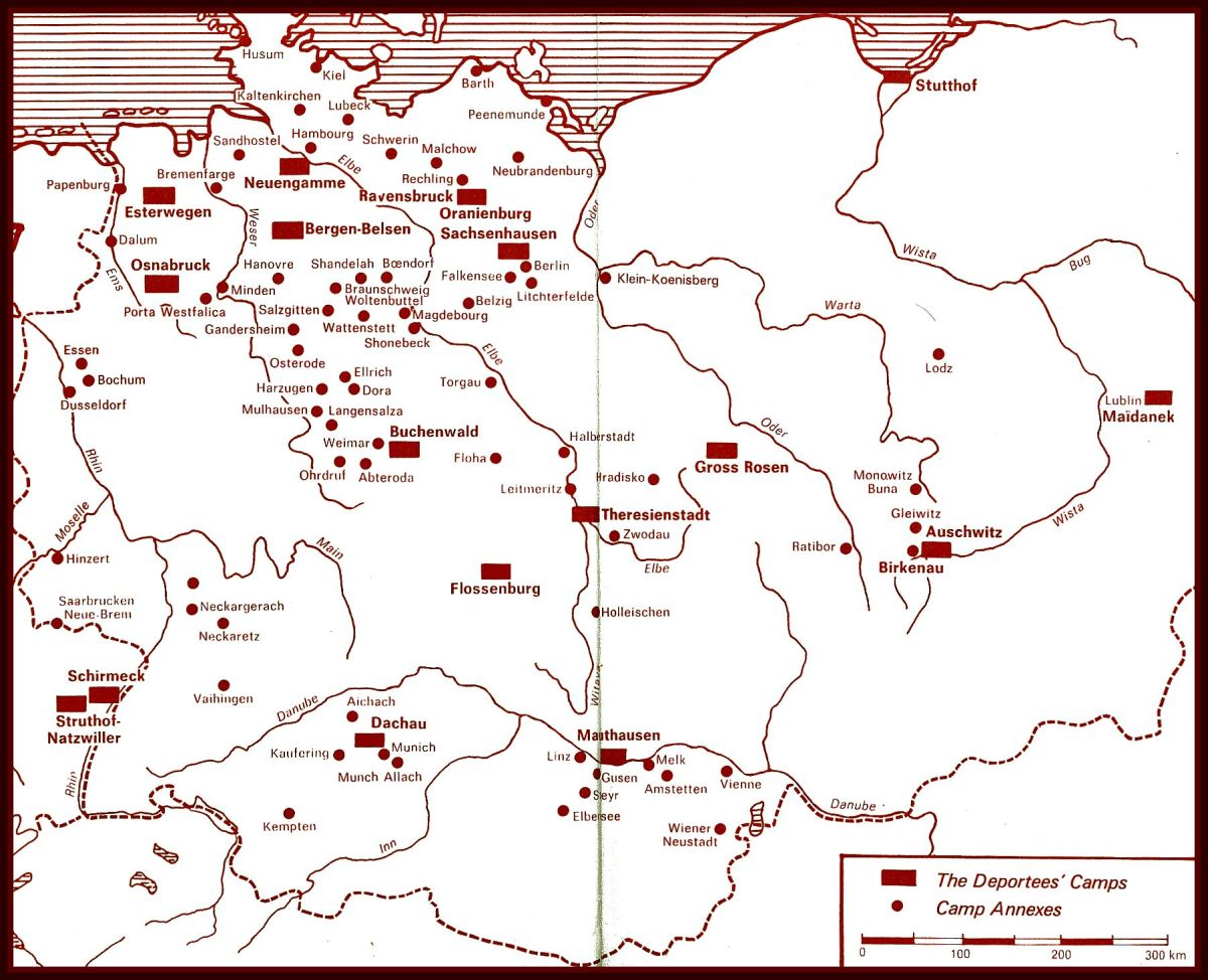 Here is a very accurate map that is provided in every volume of Christian Bernadac's set of  books about the deportation and the Holocaust. It shows the major Deportees' Camps & Camp Annexes. What we would call Concentration Camps.
