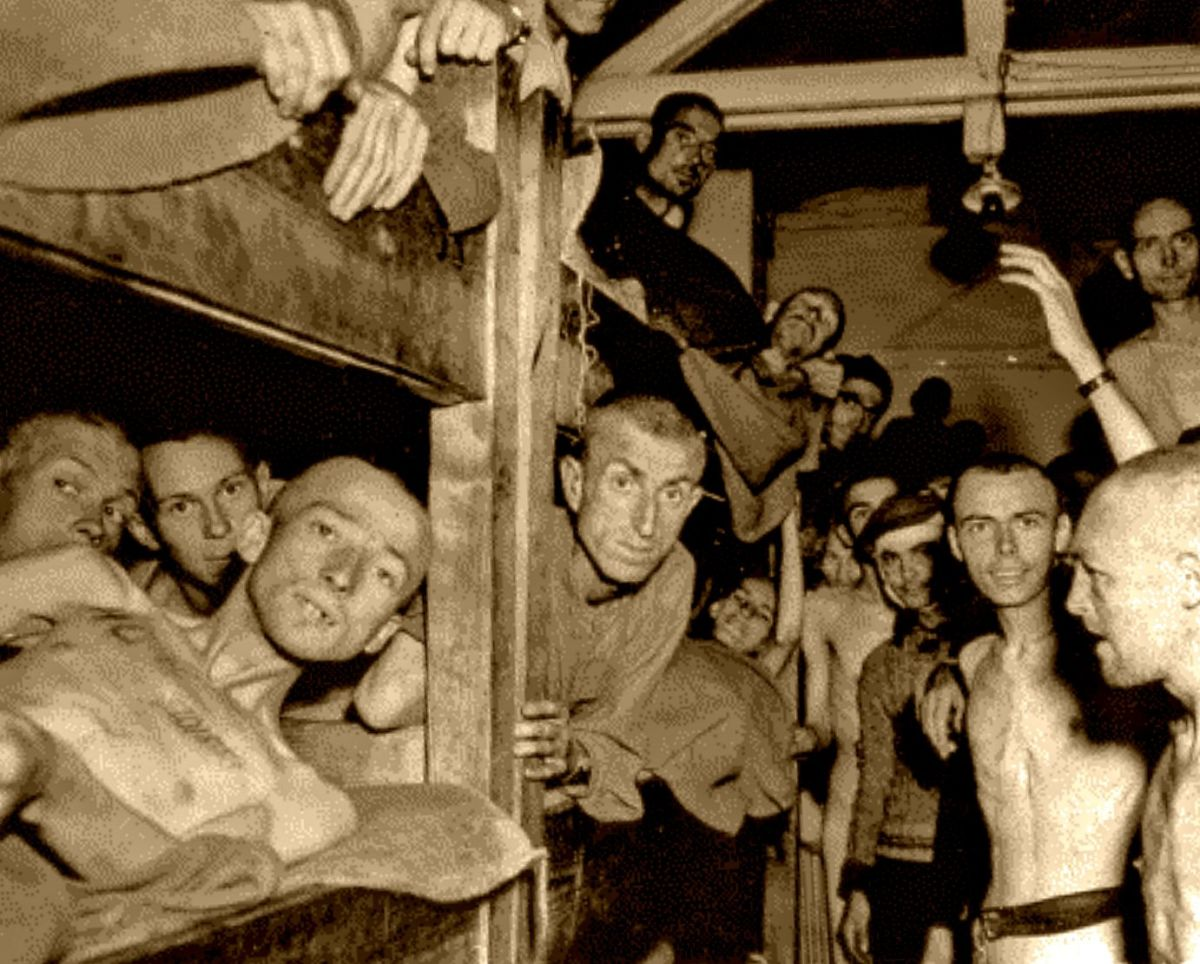 Christain Bernadac books are full of photos of events, here is a photo of the Mauthausen Concentration camp showing the prisoners in the barracks right after liberation, on May 6, 1945.