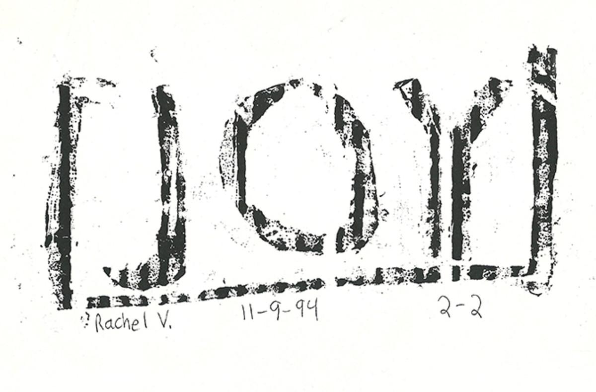 Cardboard block print by Rachael, age 13.