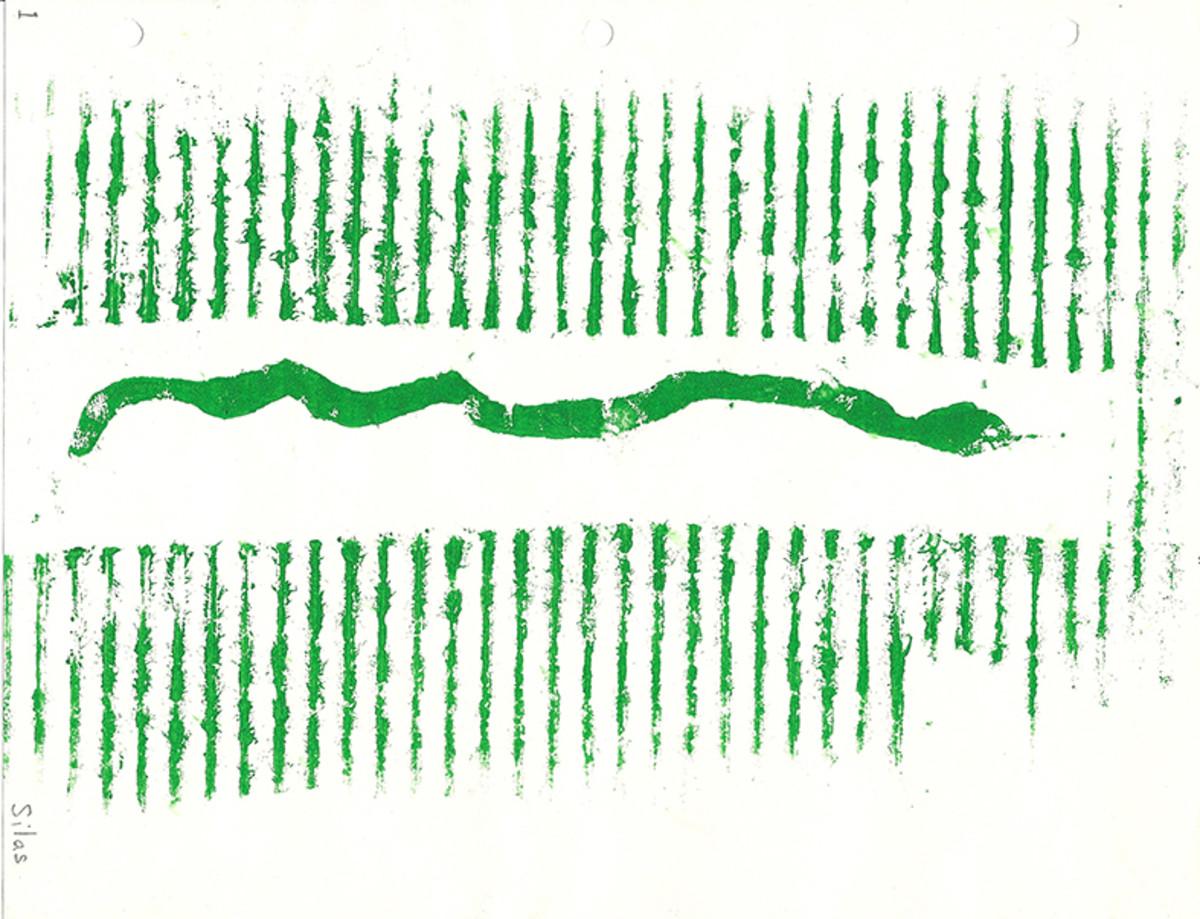 Cardboard block print by Silas, age 7.
