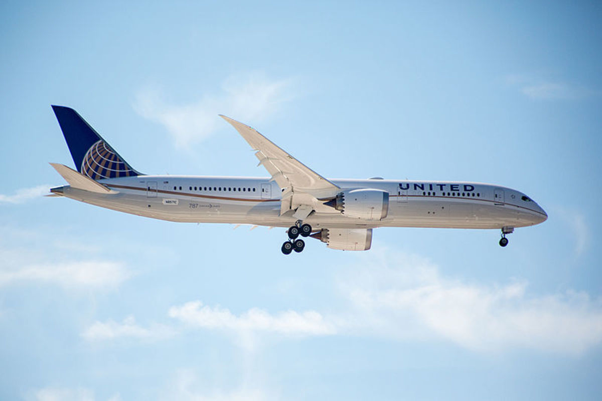 Test flight an a 787 Dreamliner after final assembly for United Airlines.