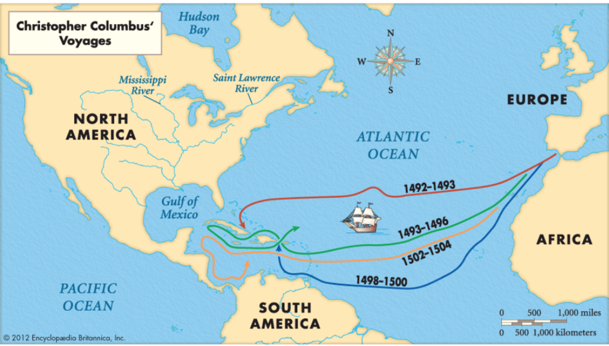 Source 4: A map of Christopher Columbus' voyages from Spain to The Americas. (Encyclopedia Britannica 2012)