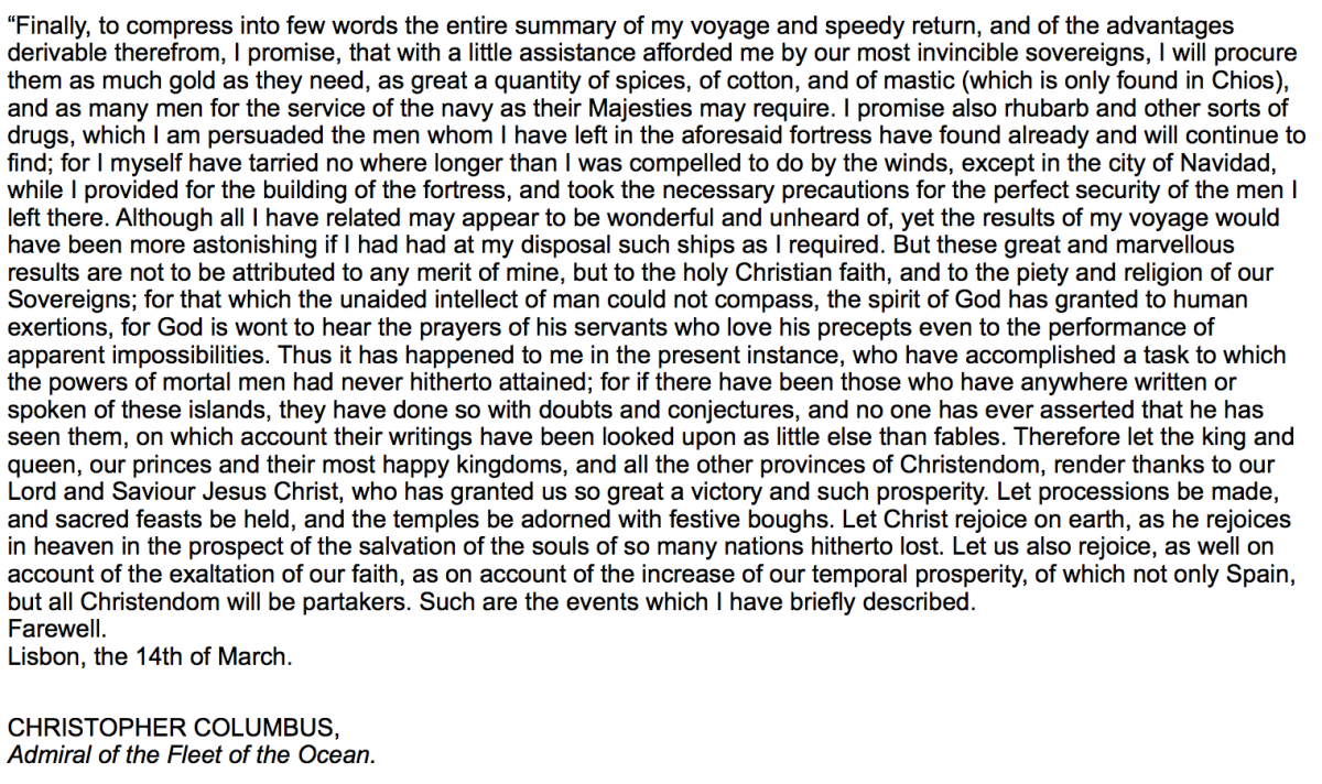 Source 5: Letter addressed to the noble Lord Raphael Sanchez, Treasurer to their most invincible Majesties, Ferdinand and Isabella, King and Queen of Spain, by Christopher Columbus, (14th March 1492)