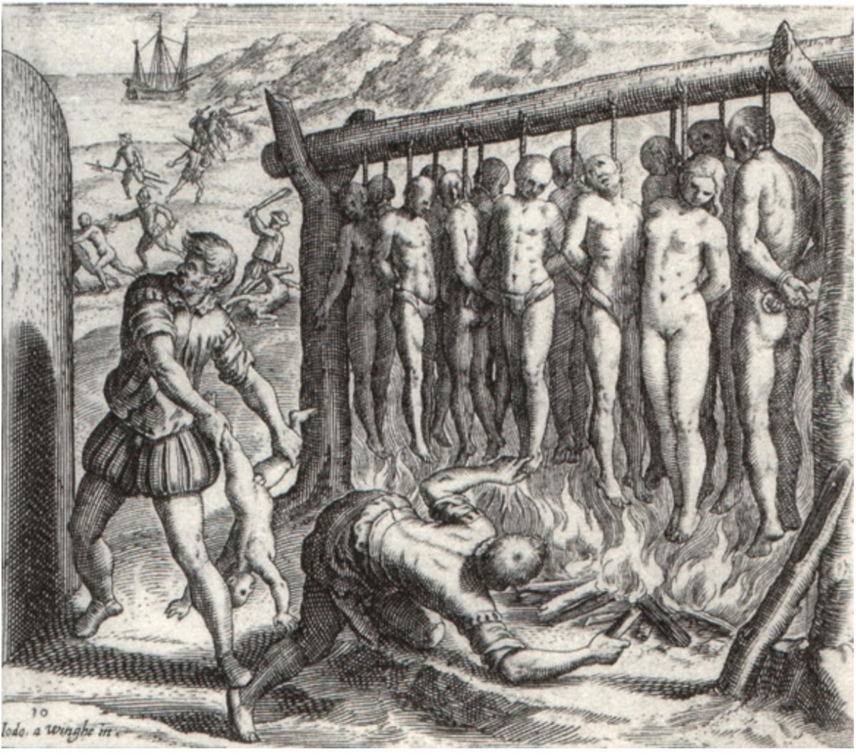 """Source 7: Depiction of Spanish atrocities committed in the conquest of Cuba in Las Casas's """"Brevisima relación de la destrucción de las Indias"""". The rendering was by the Flemish Protestant artist Theodor de Bry. (1552)"""