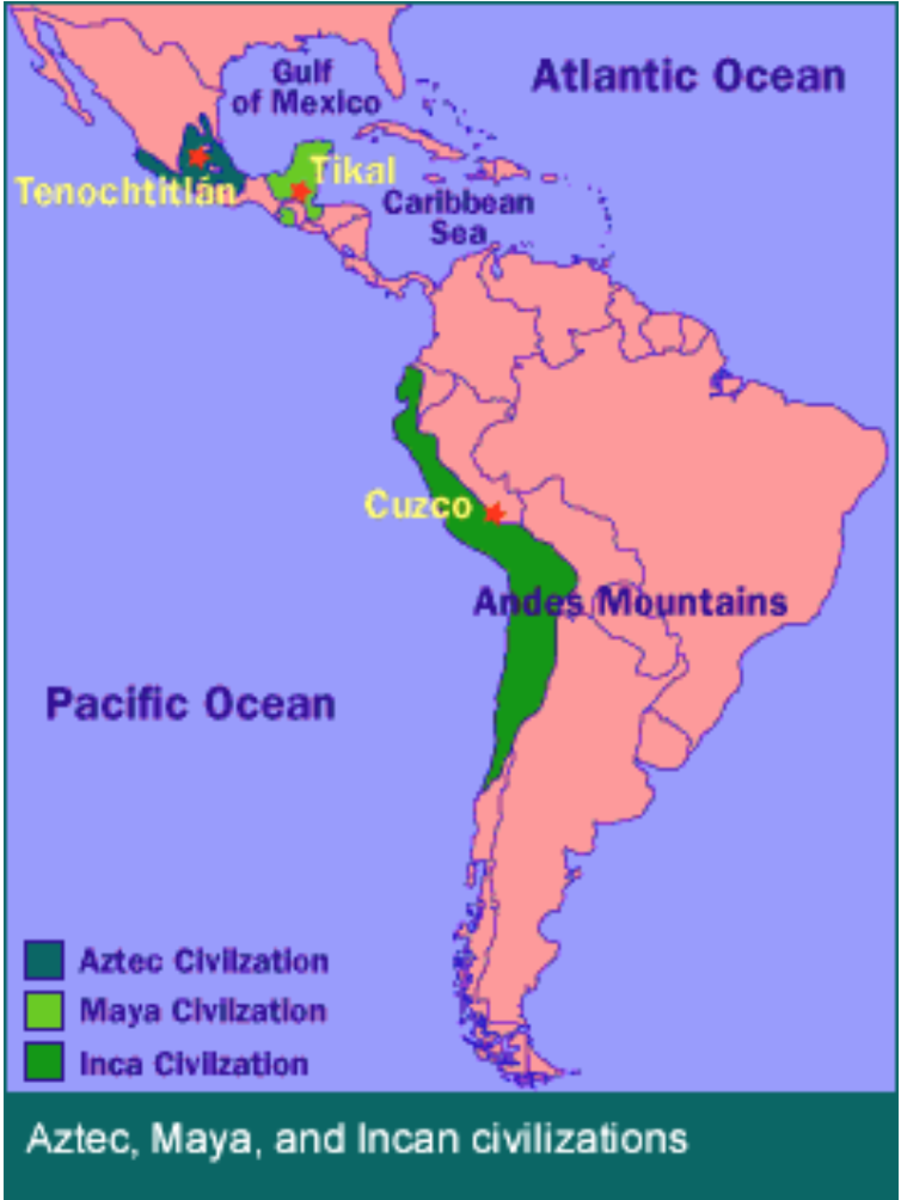 A map of the locations of the Aztecs, Mayans and Incas in the Americas.