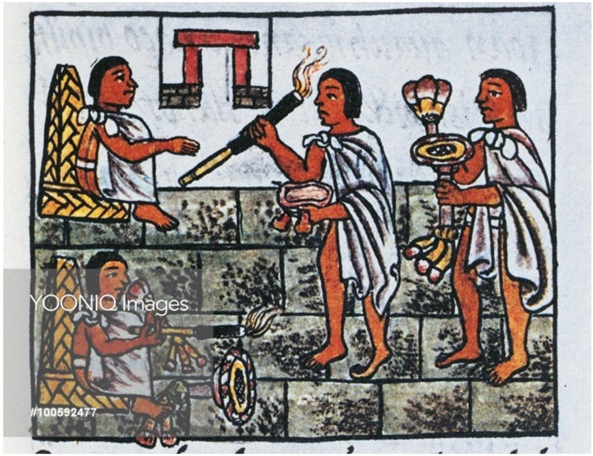 Source 10:  Use of tobacco by Fra Bernardino de Sahagun from The Code of Florence 'Historia general de las cosas de Nueva Espana' in Spanish and Nahuatl, facsimile, 16th century.