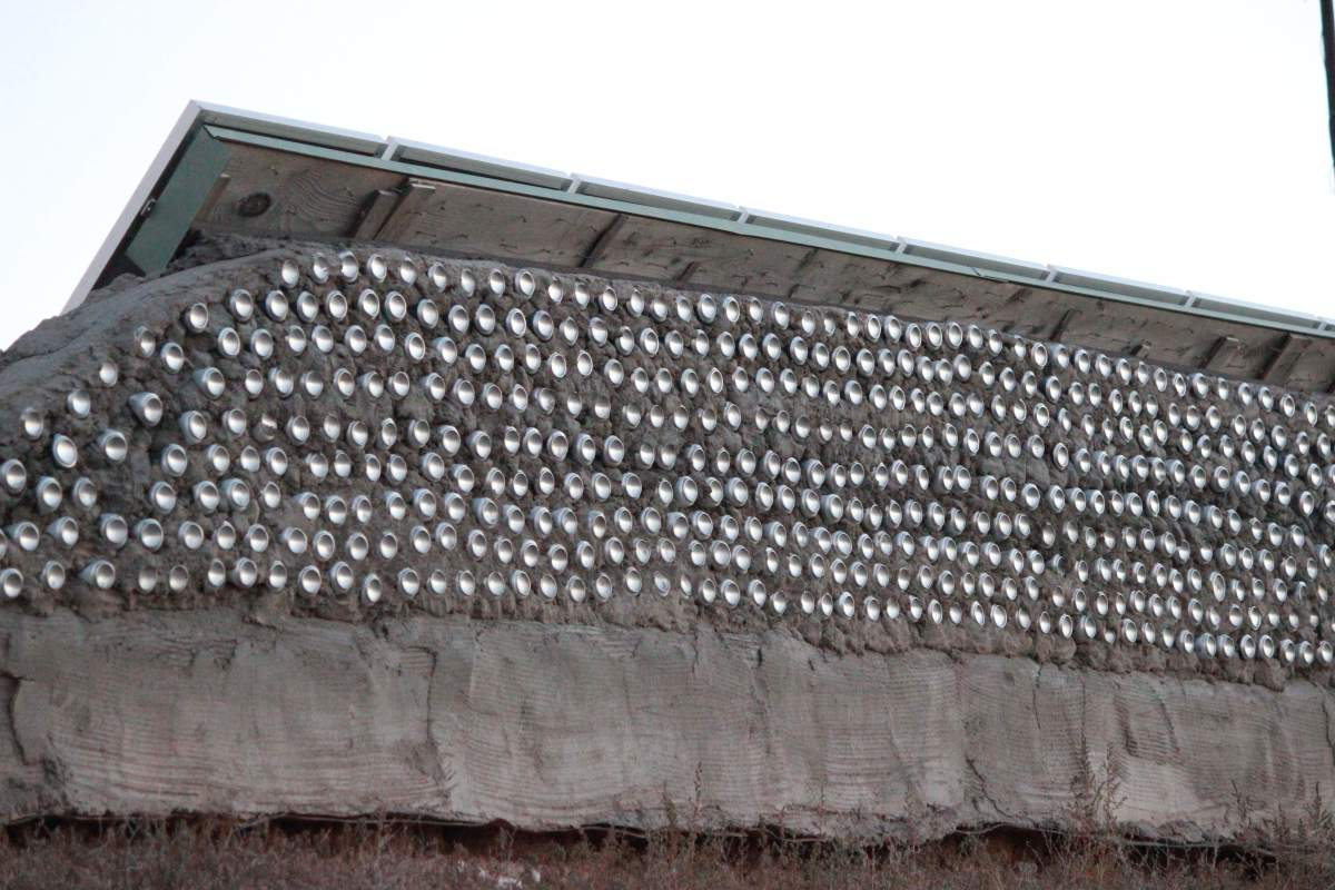 Earthship of Taos, New Mexico.   Close up of aluminum can construction.