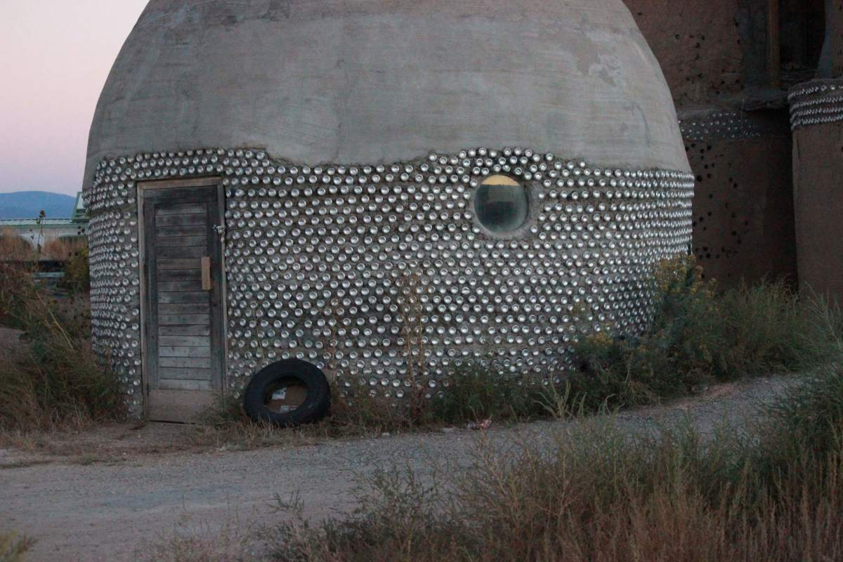 Earthship of Taos, New Mexico.  Aluminum cans make a sturdy yet beautiful touch to an Earthship structure.