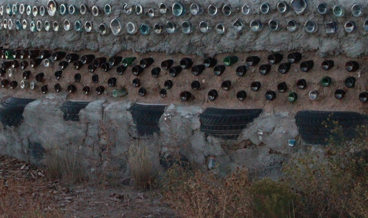 Earthship of Taos, New Mexico. Close-up of tire construction.
