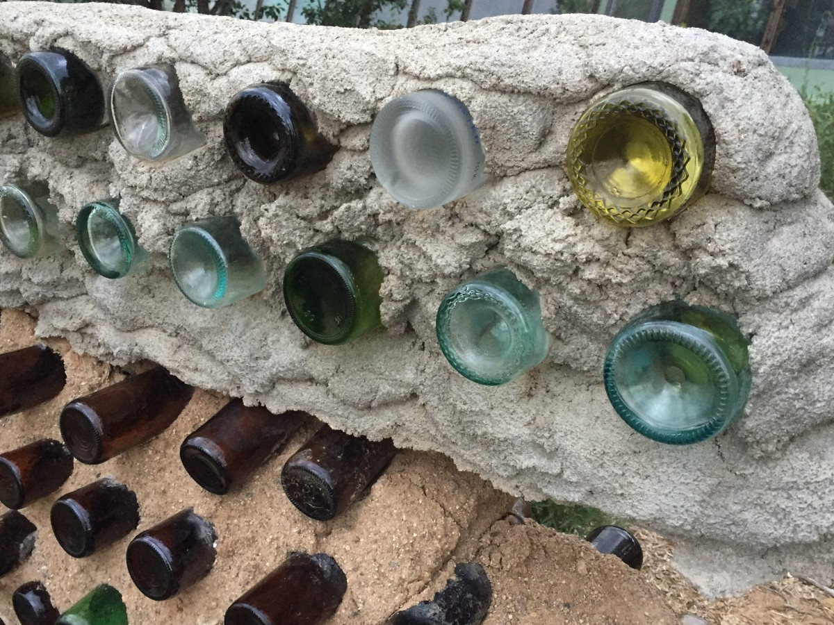 Bottle brick construction at Earth Ship site near Taos, New Mexico.