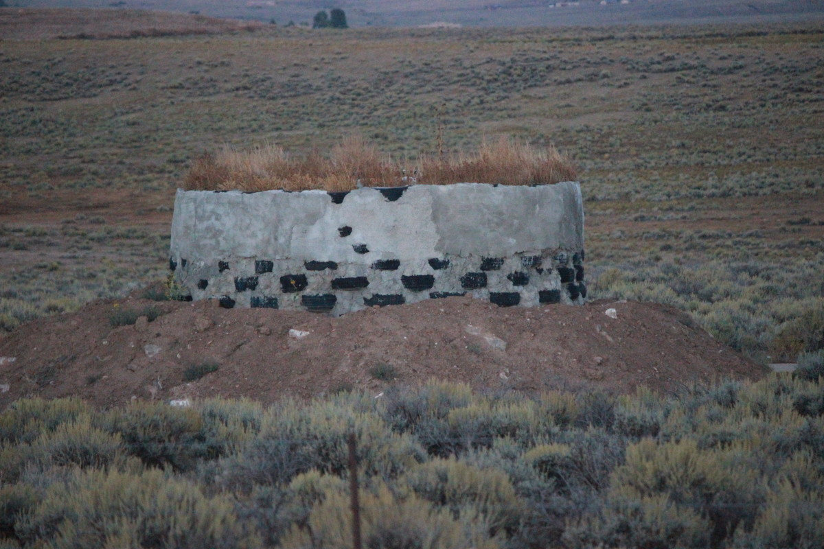 Earthship of Taos, New Mexico.  Example of packed tire construction.