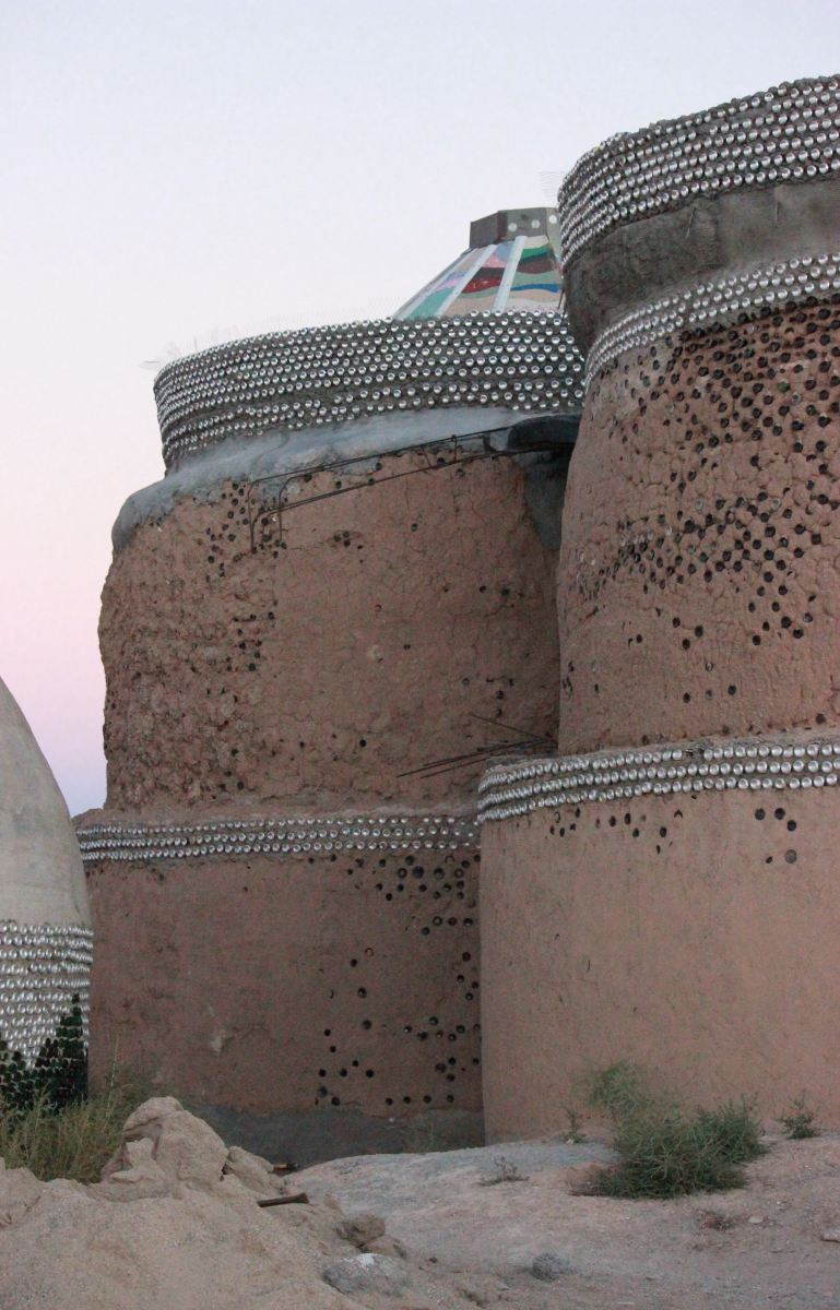 Earthship of Taos, New Mexico.  Earthships often resemble ancient structures.