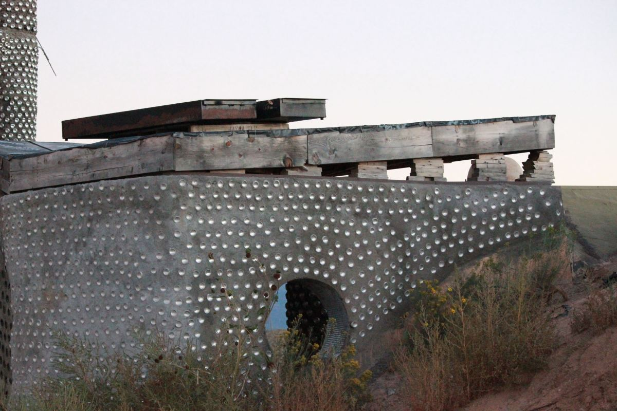 Earthship of Taos, New Mexico.  Earthships complement, rather than clash with, the surrounding terrain,