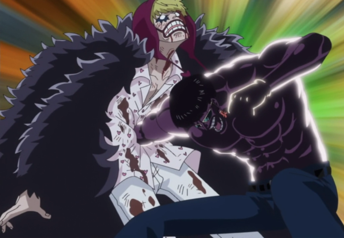Vergo (the first Corazon) vs Rosinante (the second Corazon).