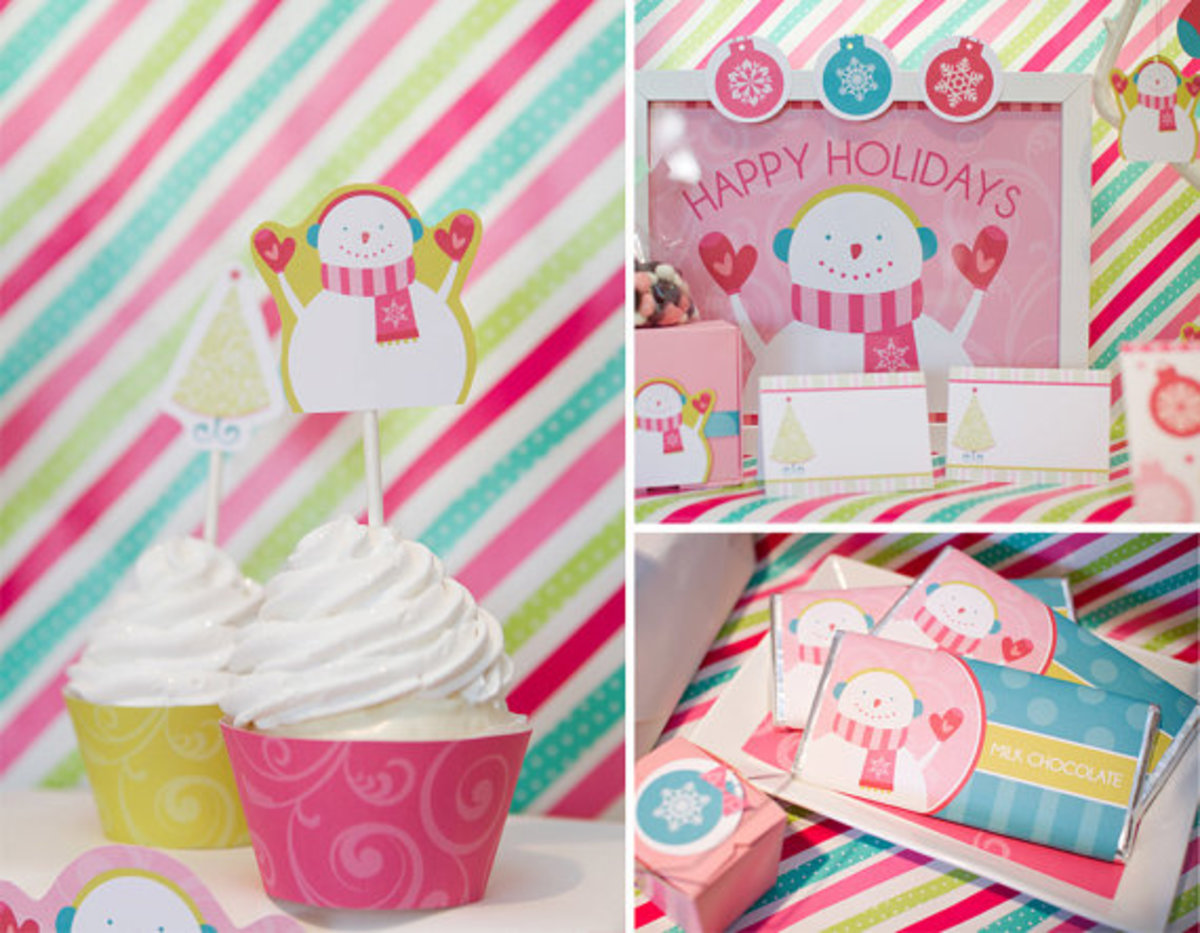 Pretty and free pastel Christmas party printables from pizzazerie.