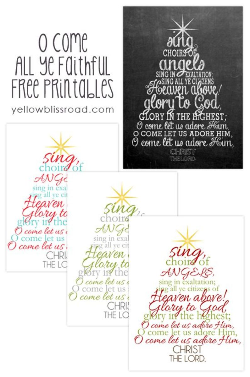 O Come All Ye Faithful Printable Christmas Decoration from yellowblissroad.com.  Print it out, frame it, and you've got a wonderful new Christmas decoration for your home.